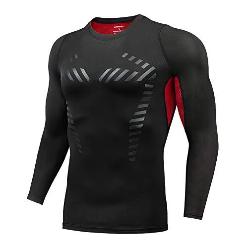 AMZSPORT Maglia Compressione UomoT-Shirt Sportiva a Manica Lunga Allenamento Running Top, Rosso L