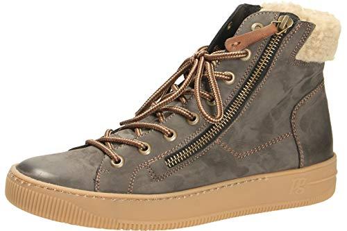 Paul Green Damen Hochschaft-Sneaker Grau Leder 38