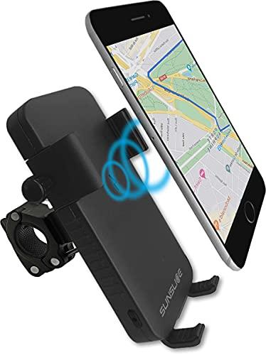 Handyhalterung Fahrrad, Handyhalter MTB, Handyhalter mit integrierter Powerbank, Handyhalter Fahrrad kompatibel für iPhone, Samsung, Wireless, Handy Laden ohne Kabel