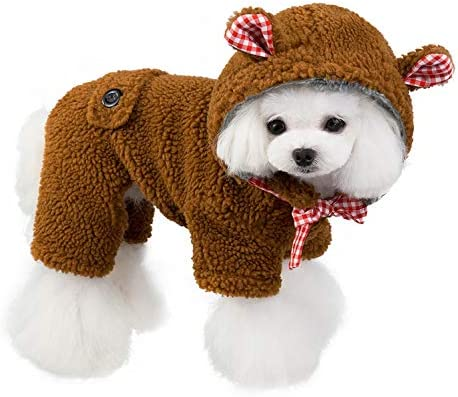 SMALLLEE LUCKY STORE Pet Warm Sherpa Fleece Teddy Bear Costume Winter Hoodie Jumpsuit Coat for product image