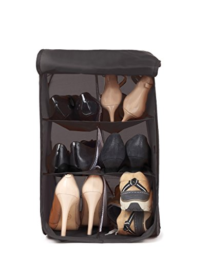 Hidden Assets Unique Pop-up & Portable 6 Cell Shoe Bin Organizer - Perfect for Office, Locker, College Dorm Room, Travel Accessory, or Home. Use as Shoe Box, Shoe Storage, and Shoe Holder. (Black)