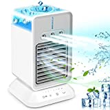 Portable Air Conditioner Fan, Rechargeable Personal Evaporative Cordless Air Cooler Battery Powered Desk Fan with Handle, Desk Misting Fan with 3 Speeds for Small Room Office Dorm and
