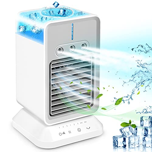 Portable Air Conditioner Fan  Rechargeable Personal Evaporative Cordless Air Cooler Battery Powered Desk Fan with Handle  Desk Misting Fan with 3 Speeds for Small Room Office Dorm and