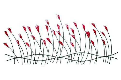 Kunstloft® Extravagante Escultura de Pared de Metal Flores alegres 124x56x6cm | Decoración XXL Metal Arte | Flores Verde Rojo | Cuadro Hecho a Mano Imagen Mural de Arte Moderno