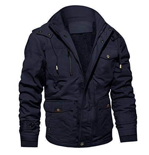 MAGCOMSEN Herren Gefütterte Winterjacke Outdoor Cargojacke Armee Jacke für Herren Reißverschluss Bomberjacke Warm Arbeitsjacke mit Stehkragen Dunkelblau XL