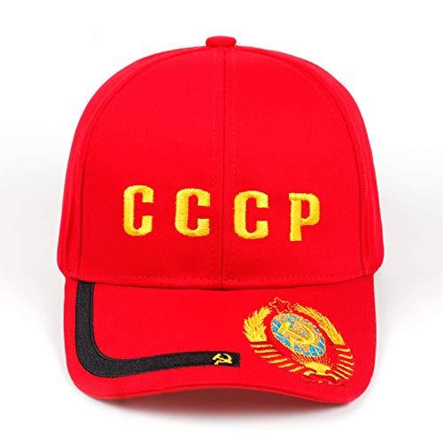 Casquette de Baseball Haute Qualité Broderie Nouveau CCCP Emblème National Casquette De Baseball Unisexe Noir Rouge Coton Style Golf Cap Os Rouge