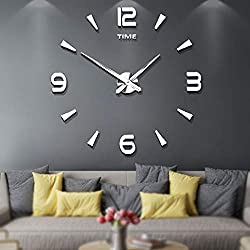 Mintime Frameless Large 3D DIY Wall Clock Mirror Stickers Home Office School Decoration (2-Year Warranty) (015-SR)