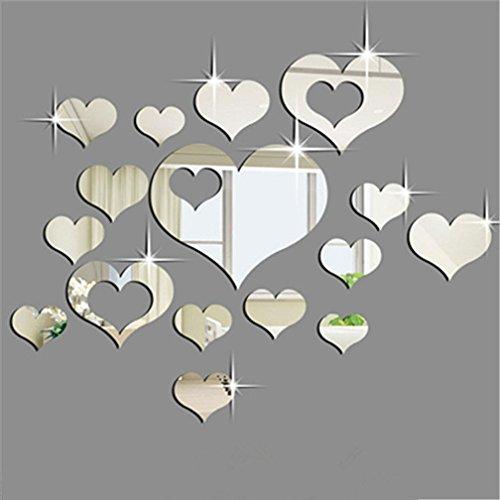 STRIR 15pcs Pegatinas de pared de espejo en forma de corazón de acrílico 3D Pared Decoración De La Habitación