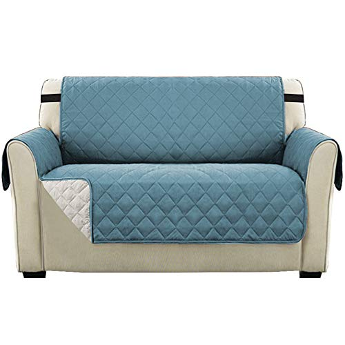 Reversible Slipcover Quilted Furniture Protector Cover, Loveseat Sofa Covers for 2 Seater with 2' Elastic Strap, Seat Width Up to 46', Couch Cover Cover, Washable (Loveseat: Citadel/Beige)