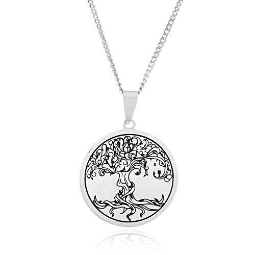 Klimisy - Lebensbaum Kette mit Anhänger aus Edelstahl - Buy one & Plant one Tree - Hochwertige Halskette mit graviertem Baum des Lebens Medaillon - Eco & Fair
