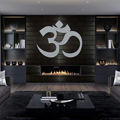 Metal Wall Art Metal Om Decor, Yoga Decor, OM Wall Art Metal Decor Silver Grey (60 x 50 cm)