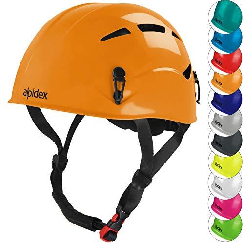 ALPIDEX Universal Kletterhelm für Herren und Damen Klettersteighelm in unterschiedlichen Farben, Farbe:Sunset orange