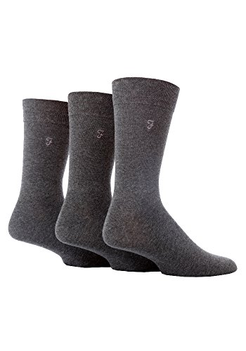 FARAH® - 3 Paar Herren Farbig Bunt Muster Luxus Atmungsaktive Gestreift Herrensocken Baumwolle Reich Formale Casual Socken (39-45 EU, CS34GRY (Plain))