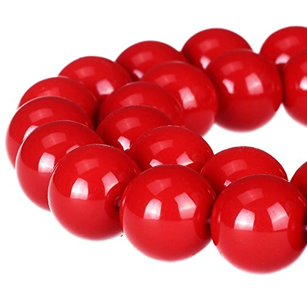 RUBYCA Round Opaque Painted Druk Czech Glass Beads Bulk Jewelry Making Supplies Strand (Red, 10mm)