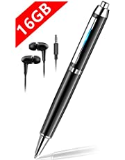 ボイスレコーダー 小型 軽量 16GB icレコーダー ペン型 録音機 高音質 大容量 長時間録音 MP3プレーヤー機能付 USB充電式 簡単操作 音声検知自動録音 ノイズキャンセリング技術 芯三本付き 日本語説明書付き (ブラック)