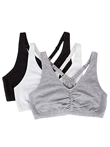 Fruit of the Loom Women's Adjustable Shirred Front Racerback Sports Bra, 3-Pack, White/Heather Grey/Black, 44