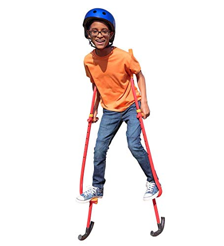 HearthSong Adjustable Ergonomic Amazing Feats Kids Stilts with Treaded Foot Rests, Arced Feet, and Foam Handles, Adjusts 51