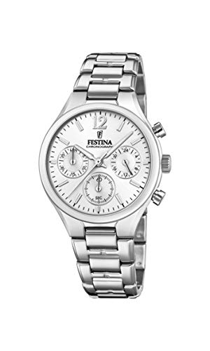 Festina Damen Chronograph Quarz Uhr mit Edelstahl Armband F20391/1