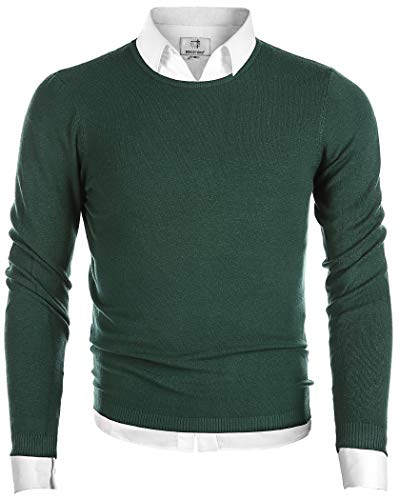 MOCOTONO Men's Long Sleeve Crew Neck Pullover Knit Sweater Dark Green Large