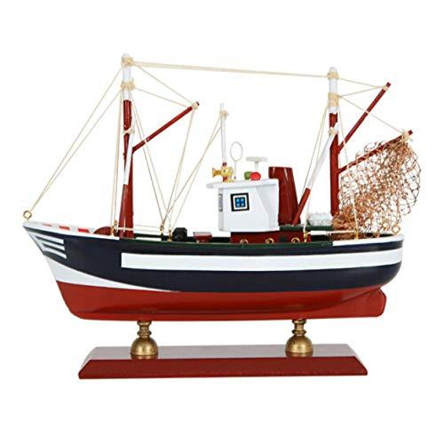 Ptcta Escultura Decorativa Simulación mediterránea Modelo de velero Adornos de decoración Sala de Estar Estudio Barco de Pesca Adornos de Escritorio Oficina esculturas Decoracion Moderna Madera
