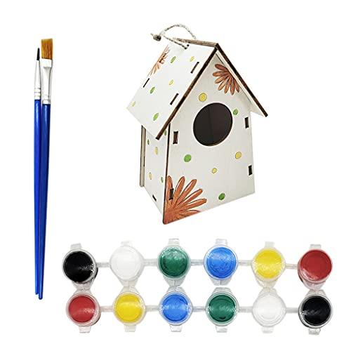 gszfsm001 Fai da Te Bird House Kit Arti in Legno per Ragazze Ragazzi Toddlers Bambini Costruire Assemblaggio Non Verniciato Edificio Pittura Mini NES Bird House