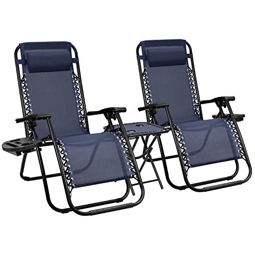 Devoko Patio Zero Gravity Chair Outdoor Folding Recliner Chairs with Table Pool Side Using Lawn Chair Sets with Pillow (Deep Blue)
