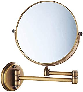 3X Magnification Makeup Vanity Mirror, Two-Sided Wall Mounted Cosmetic Mirror 360° Swivel Extendable Bathroom Mirror,Bronze_8inch, Bathroom
