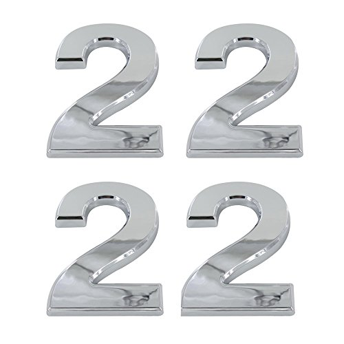 Tocone 4pcs Adhesivo Acrílico Número Casa 0 a 9 Signo Vivienda Calle Números Placas de Dirección Número de Casa para Puerta, Casa, Buzón, Hotel, Plata 5cm (2)