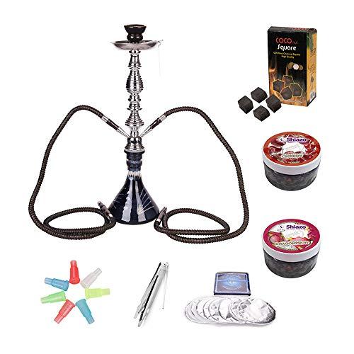 RMAN® Wasserpfeife Shisha Set 2 Schläuchen Shisha Hookah inkl. Hygiene Mundstück, Folie, 2 Shiza Dampfsteine