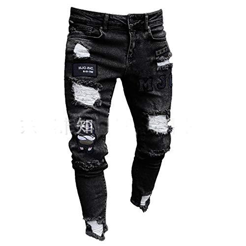 Styles Männer Stretchy Ripped Skinny Biker Stickerei Print Jeans Destroyed Hole Taped Slim Fit Denim Scratched Hochwertige Jean XL Schwarz