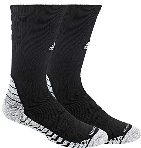 adidas Unisex-US Alphaskin Traxion Maximum Cushioned Crew Sock (1-Pair), Black/White, 6.5-9