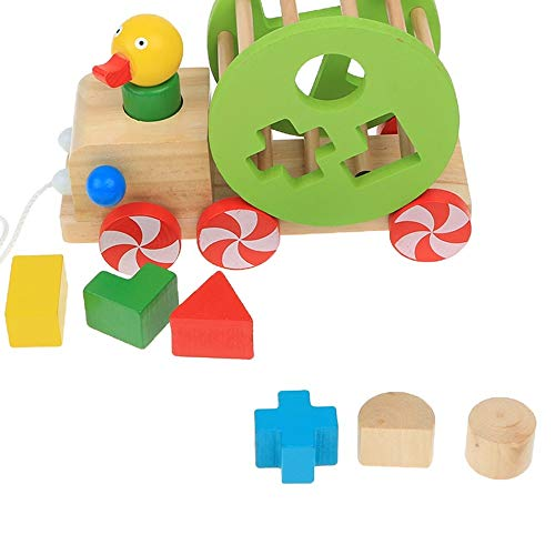 Review MiOYOOW Wooden Pull Along Toy, Wooden Shape Sorting Toy Duck Creative Educational Toy for 1 Y...