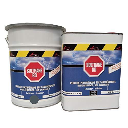 Arcane Industries - Pintura antideslizante para suelo exterior, escalera, barco, baldosas, hormigón, madera metálica, color gris basalto ral 7012