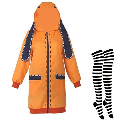 Kakegurui Jabami Yumanko disfraces Yomoduki Runa Conejo naranja Cocido largo Cosplay Girl Sudadera Sudadera Uniforme de la escuela con el almacenamiento Halloween Carnival Party Trajes de fiesta,XL