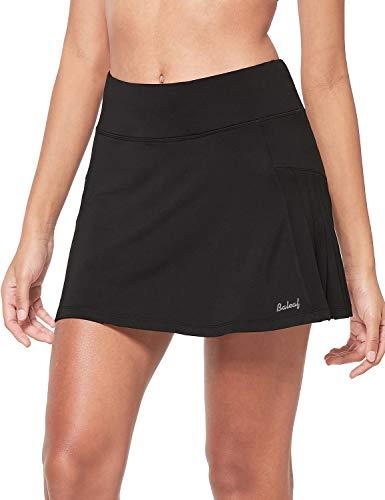 BALEAF Gonna da tennis a portafoglio, da donna, con pantaloncini in rete e tasche, per corsa, golf - Nero - M