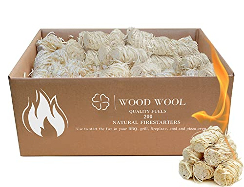 Fire Starters for Campfires 200pc - fatwood fire Starter Sticks logs for Fireplace - firestarters for Indoor Fireplace - Outdoor fire Pit Accessories - Tumbleweeds Starter Grill Camping Cubes