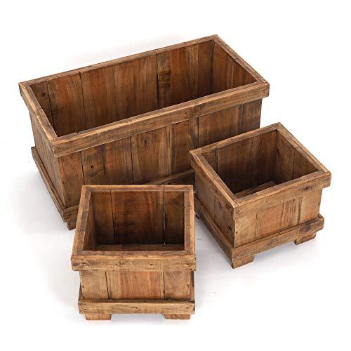 Houten PLANTENBAKKEN set van 3 Flowerpot 50 | massief oud hout, 80x40x0 cm en 35x30x30 cm (BxHxD) | decoratieve bakken, plantenpotten, bloempotten