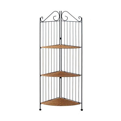 4D Concepts 3-Tier Corner Bookcase, Wicker/Metal