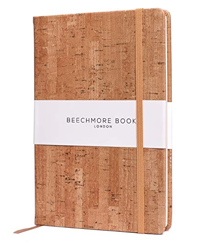 Ruled Notebook - Premium British A5 Journal by Beechmore Books | Hardcover Vegan Leather, Thick 120gsm Cream Paper, Professional Lined Notebook in Gift Box (Beige Cork)