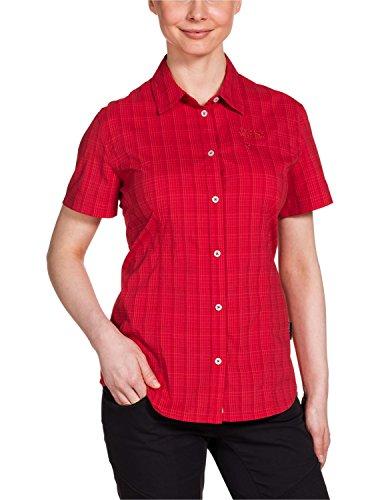 Jack Wolfskin Damen Bluse Centaura Stretch Vent Shirt, Red Fire Checks, S, 1401621-7849002