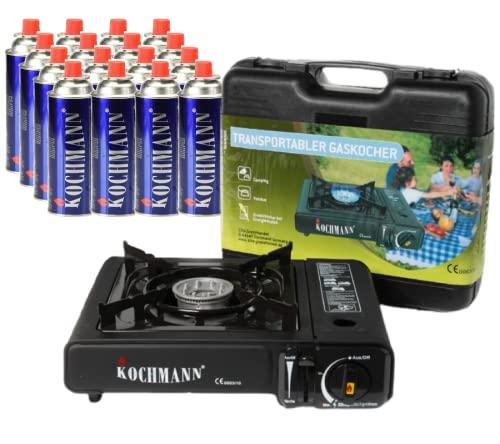 Hornillo de gas Kochmann + 16 cartuchos de gas, 1 llama con seguro de encendido, hornillo de camping para camping, exterior, ocio, deporte