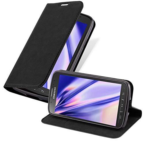 Cadorabo Hülle für Samsung Galaxy S4 Active - Hülle in Nacht SCHWARZ – Handyhülle mit Magnetverschluss, Standfunktion und Kartenfach - Case Cover Schutzhülle Etui Tasche Book Klapp Style