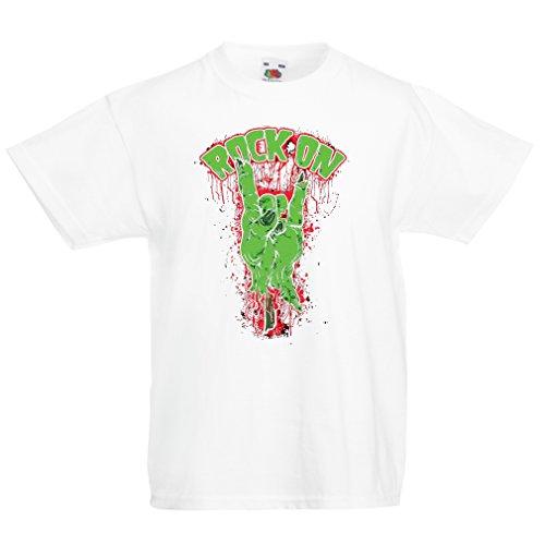 Camisas para niños ¡Símbolo del Metal de la Mano del Zombi! Signo de los Cuernos (5-6 Years Blanco Multicolor)