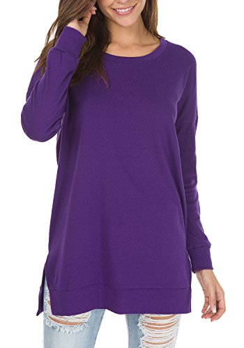 levaca Womens O Neck Sweatshirt Side Split Loose Casual Plus Tee Shirts Purple L