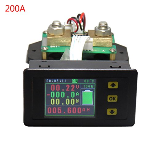 Xurgm Kabellos LCD Digitalanzeige Voltmeter Amperemeter DC 120V 100A/200A/300A/500A Strom Spannung Monitor-Power Energy-Multimeter mit integriertem Shunt (200A)