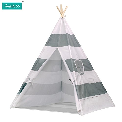 Pericross- Tente Indienne de Jouet pour Enfants avec Tapis et Fenêtre Dimensions:120 * 120 * 145cm 100%Coton (Gris-Blanc)