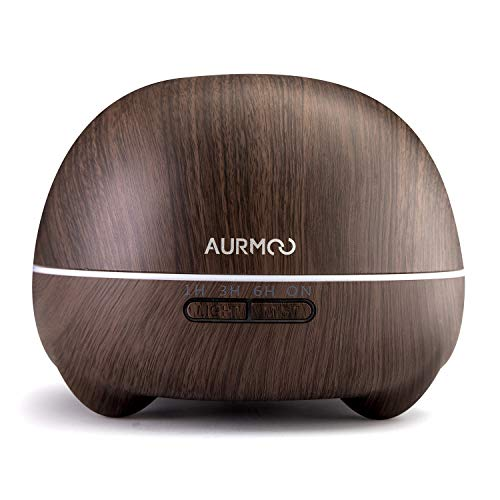 Aurmoo | Aroma diffuser | Aromatherapie | 400 ml | LED-licht | Donker hout