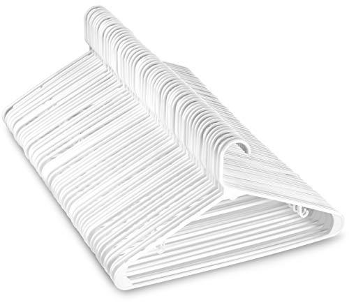 White Standard Plastic Hangers (50 PACK) Long Lasting Tubular Coat Hangers Plastic, Laundry & Dorm Room Hanger, Durable, Slim & Space Saving, Heavy Duty Clothes Hanger, Dress Notches, Strong Pants Bar