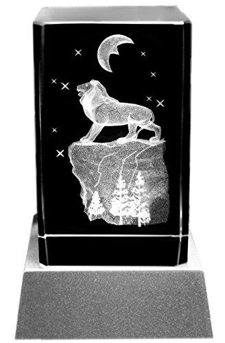 Kaltner Präsente Stimmungslicht - Das perfekte Geschenk: LED Kerze/Kristall Glasblock / 3D-Laser-Gravur Tiere Löwe