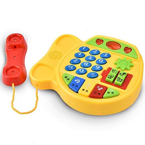 Juguete Telefónico Teléfono Eléctrico de La Música de La Historieta de La Iluminación del Rompecabezas, Juguetes de Educación Infantil, Juguete de Juego de Rol Play House para Reconocer Colores